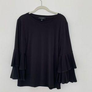 Laundry Black Ruffle Sleeve Top